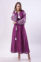 Длинное платье виноградного цвета с белой вышивкой