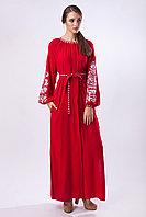 Красное платье ровоного кроя с белой вышивкой Дерево Жизни