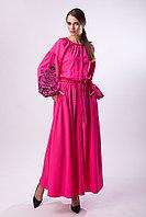 Длинное розовое платье с черной вышивкой Дерево Жизни