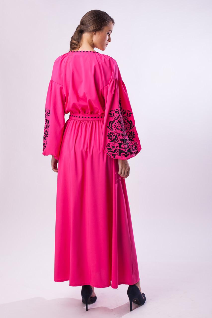 Длинное розовое платье с черной вышивкой Дерево Жизни - фото 2