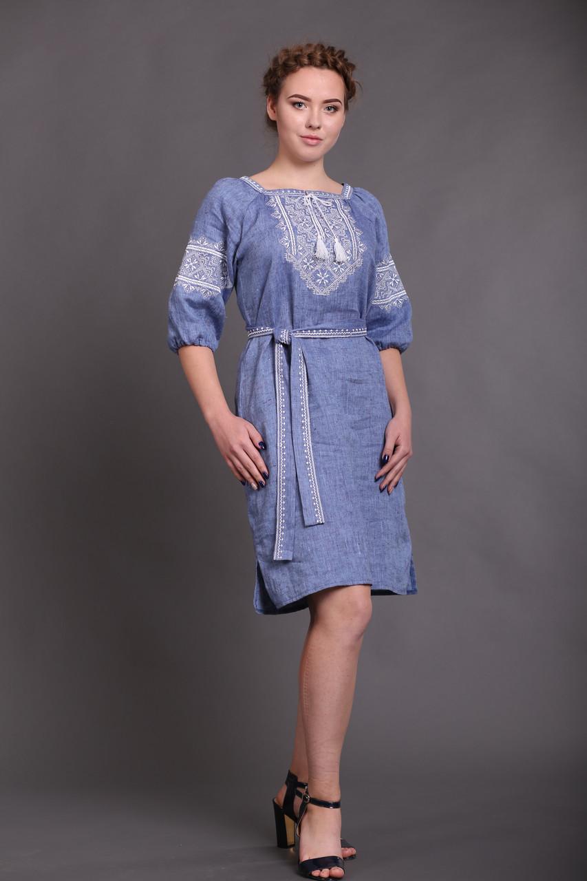 Вышитое платье Твори мир (цвет - джинс) - фото 2