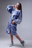 Платье с вышивкой Дерево жизни, лен джинс, белая вышивка