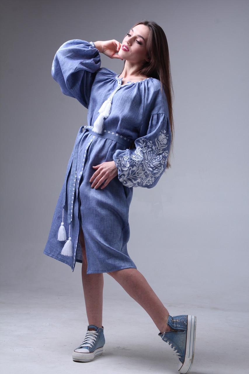 Платье с вышивкой Дерево жизни, лен джинс, белая вышивка - фото 1