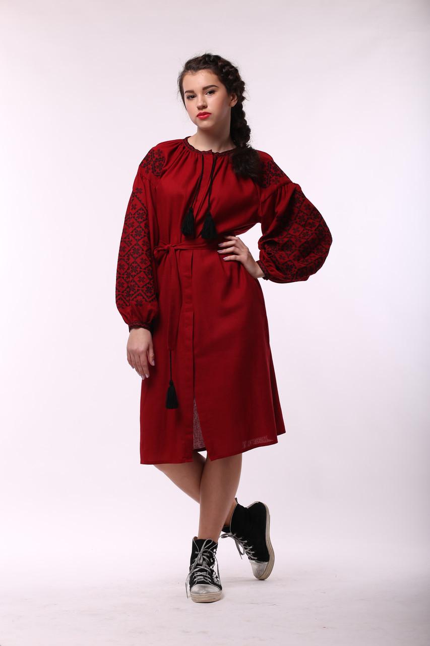 """Бордовое платье с черной вышивкой """"Ясные Зори"""" - фото 1"""