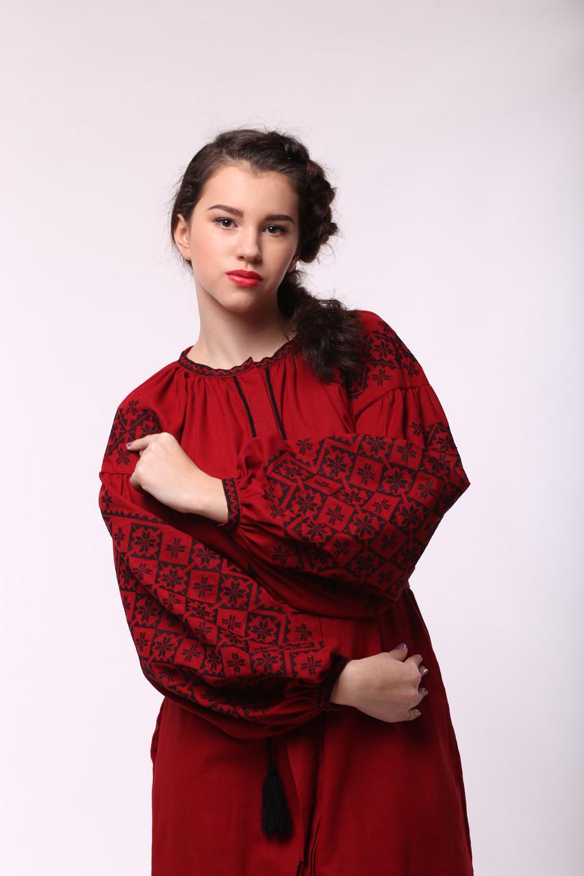 """Бордовое платье с черной вышивкой """"Ясные Зори"""" - фото 2"""