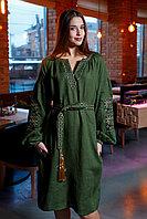 Платье цвета хаки с бежевой вышивкой