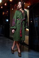 """Платье """"Ломанная Ветка"""" лен хаки, фуксия вышивка"""