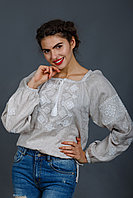Вышиванка женская Окошко, бежевый лен, белая вышивка