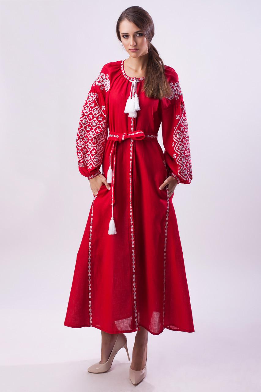 Длинное вышитое платье Ясные зори,красный лен, белая вышивка - фото 1