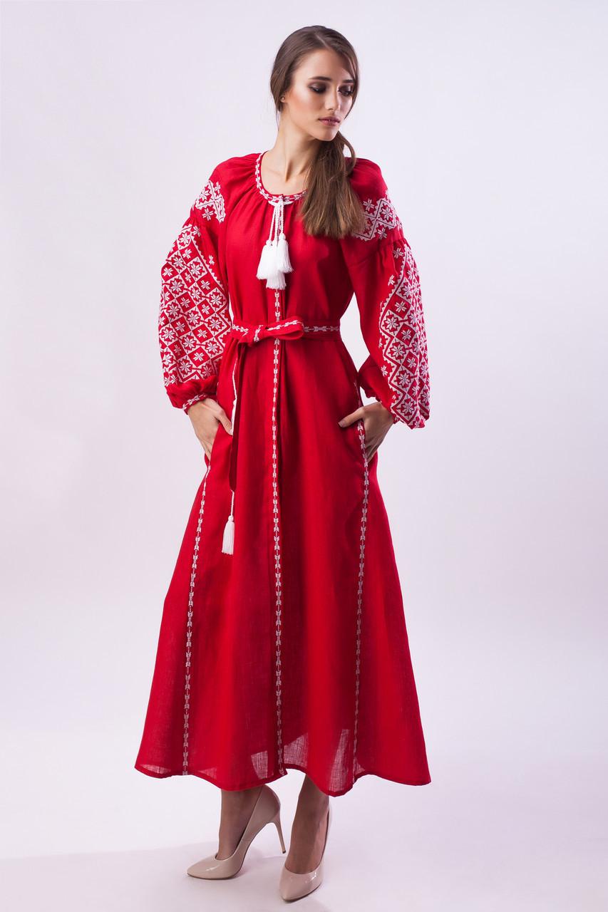 Длинное вышитое платье Ясные зори,красный лен, белая вышивка - фото 2