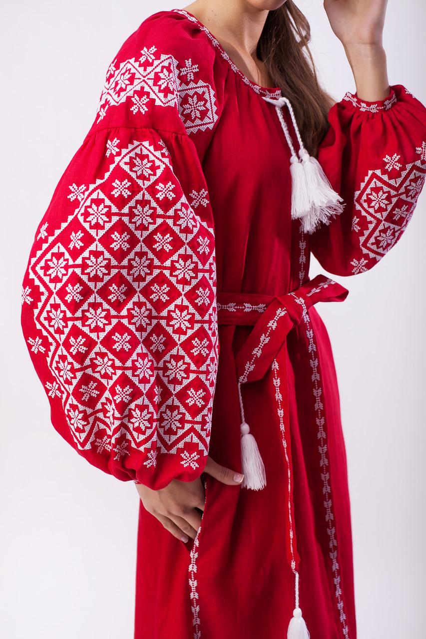 Длинное вышитое платье Ясные зори,красный лен, белая вышивка - фото 3