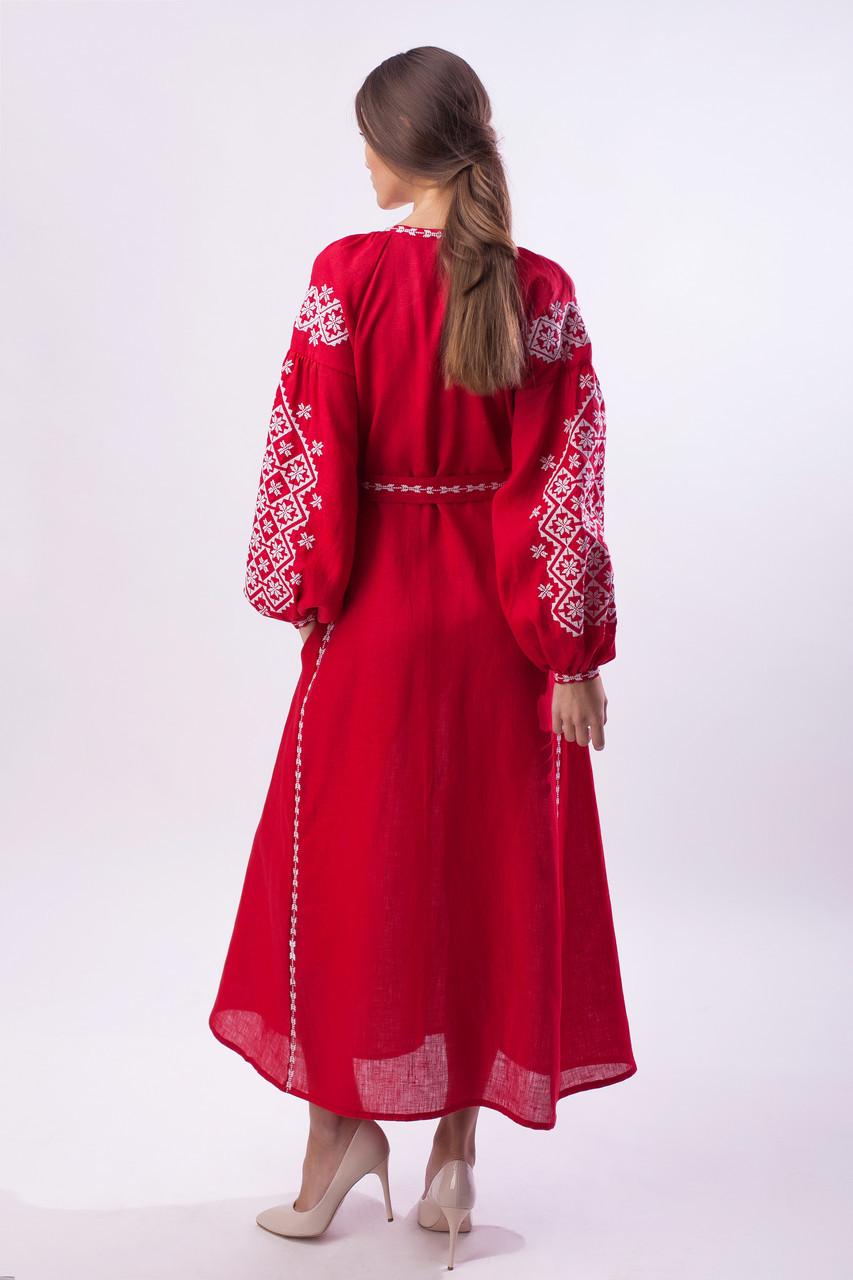 Длинное вышитое платье Ясные зори,красный лен, белая вышивка - фото 4