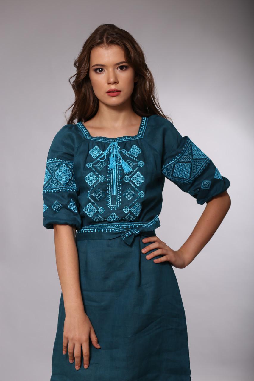 Платье Окошко зеленый лен - фото 2