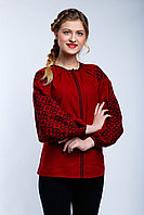 Вышиванка женская Ясные зори, бордовый лен, черная вышивка
