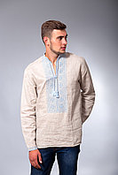 Мужская рубашка вышиванка бежевого цвета с голубой вышивкой