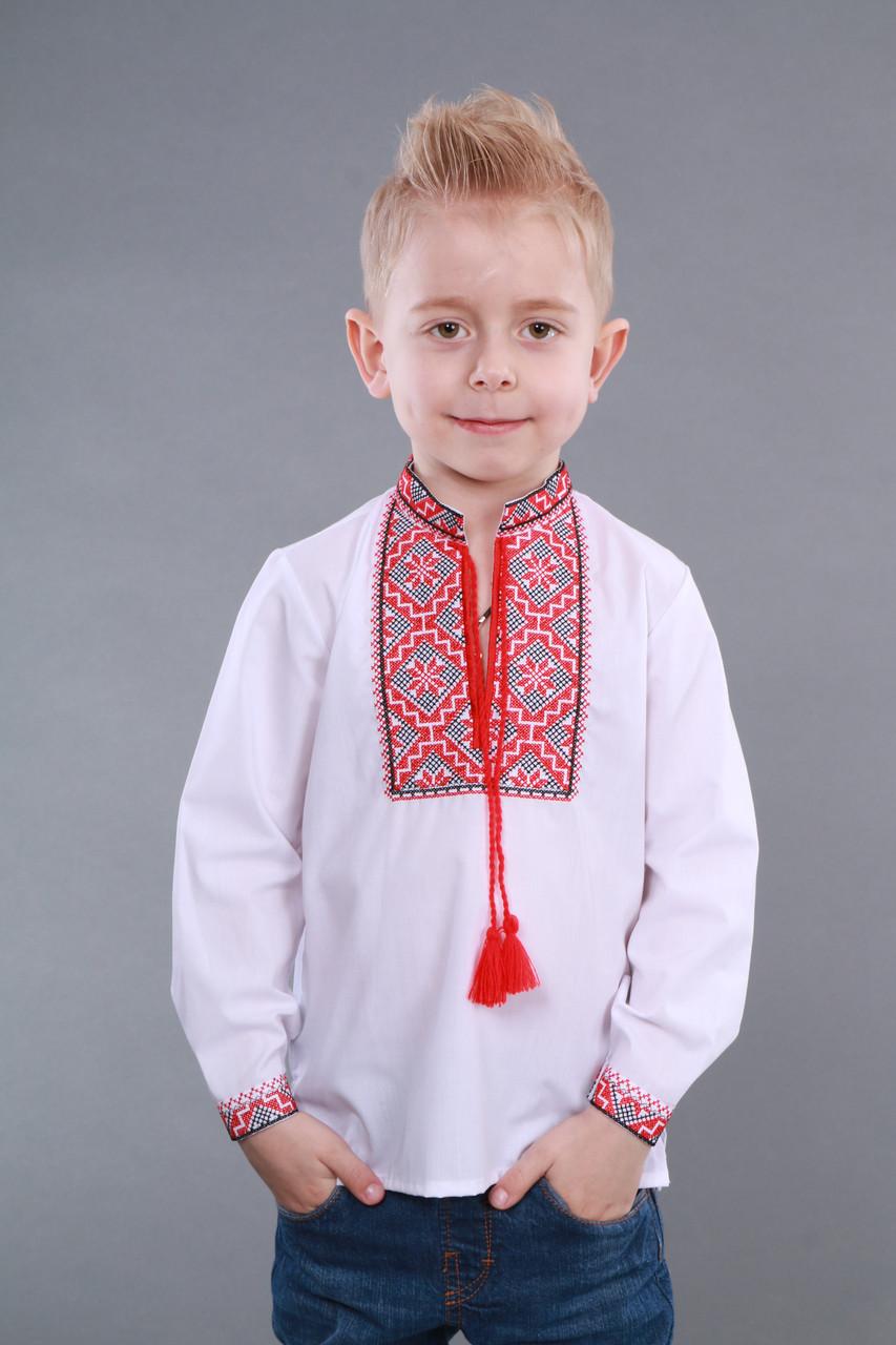 Детская вышиванка на мальчика, красно-черный узор Собственное производство - фото 2