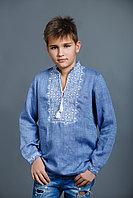 Детская вышиванка для мальчика, лен джинс, длинный рукав