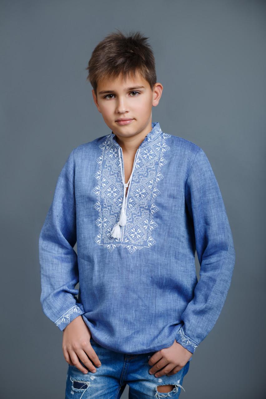 Детская вышиванка для мальчика, лен джинс, длинный рукав - фото 1