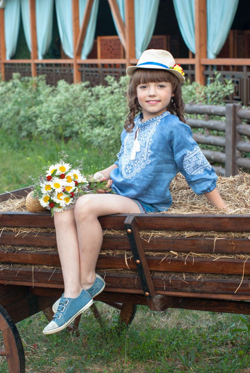 Джинсовая вышиванка для девочки - фото 2