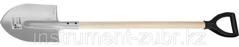 Лопата штыковая, ЛКО, деревянный черенок, с рукояткой, СИБИН, фото 2