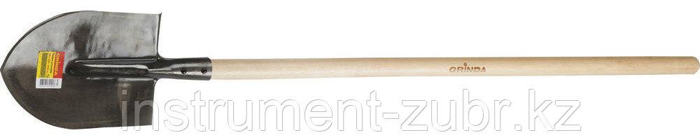 Лопата штыковая, ЛКО, деревянный черенок, GRINDA