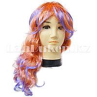 Рыжий карнавальный парик с челкой и фиолетовыми прядями для тематической вечеринки (55 см)