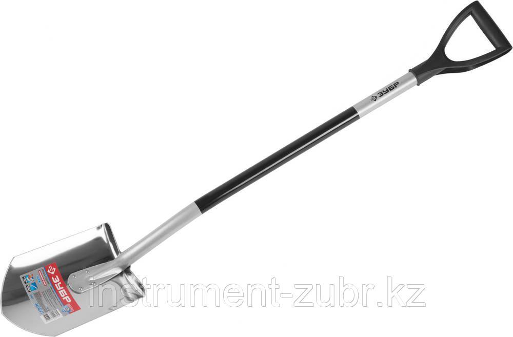 Лопата из нержавеющей стали, алюминиевый черенок, ЗУБР Профессионал