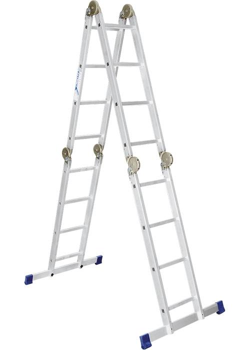 Лестница шарнирная алюминиевая, 4х4 ступени, Pоссия