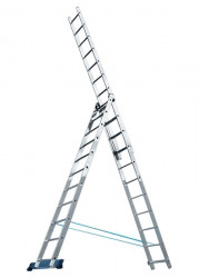 Лестница, 3 х 8 ступеней, алюминиевая, трехсекционная, Россия//