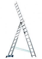 Лестница, 3 х 8 ступеней, алюминиевая, трехсекционная, Россия
