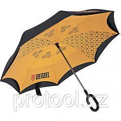 Зонт-трость обратного сложения, эргономичная рукоятка с покрытием Soft Touch// DENZEL