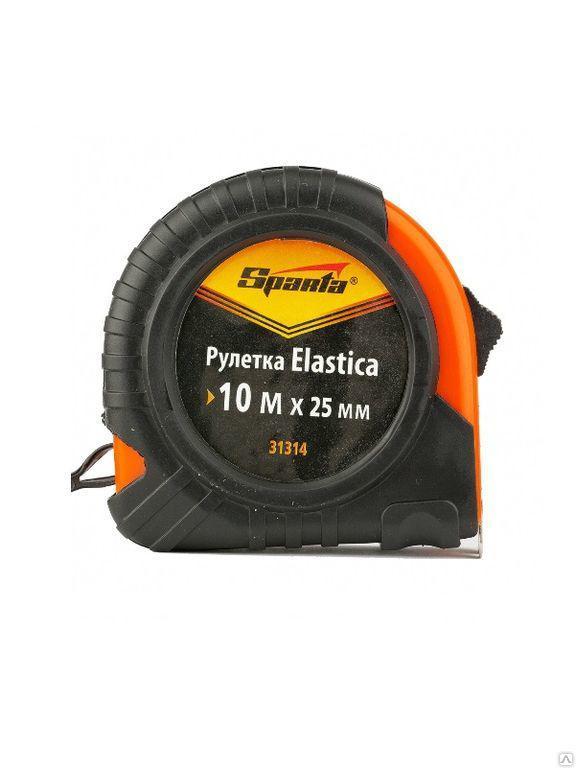 Рулетка Elastica, 10 м х 25 мм, обрезиненный корпус//SPARTA