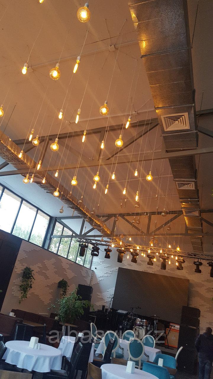 Подсветка помещений лампами Эдисона, оформление лампами Эдисона, оформление кафе, ресторанов, потолков