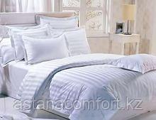 Белый гостиничный комплект постельного белья из сатина. 2-спальный. Турция.