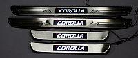 Пороги с синей LED подсветкой Corolla 2011-2013