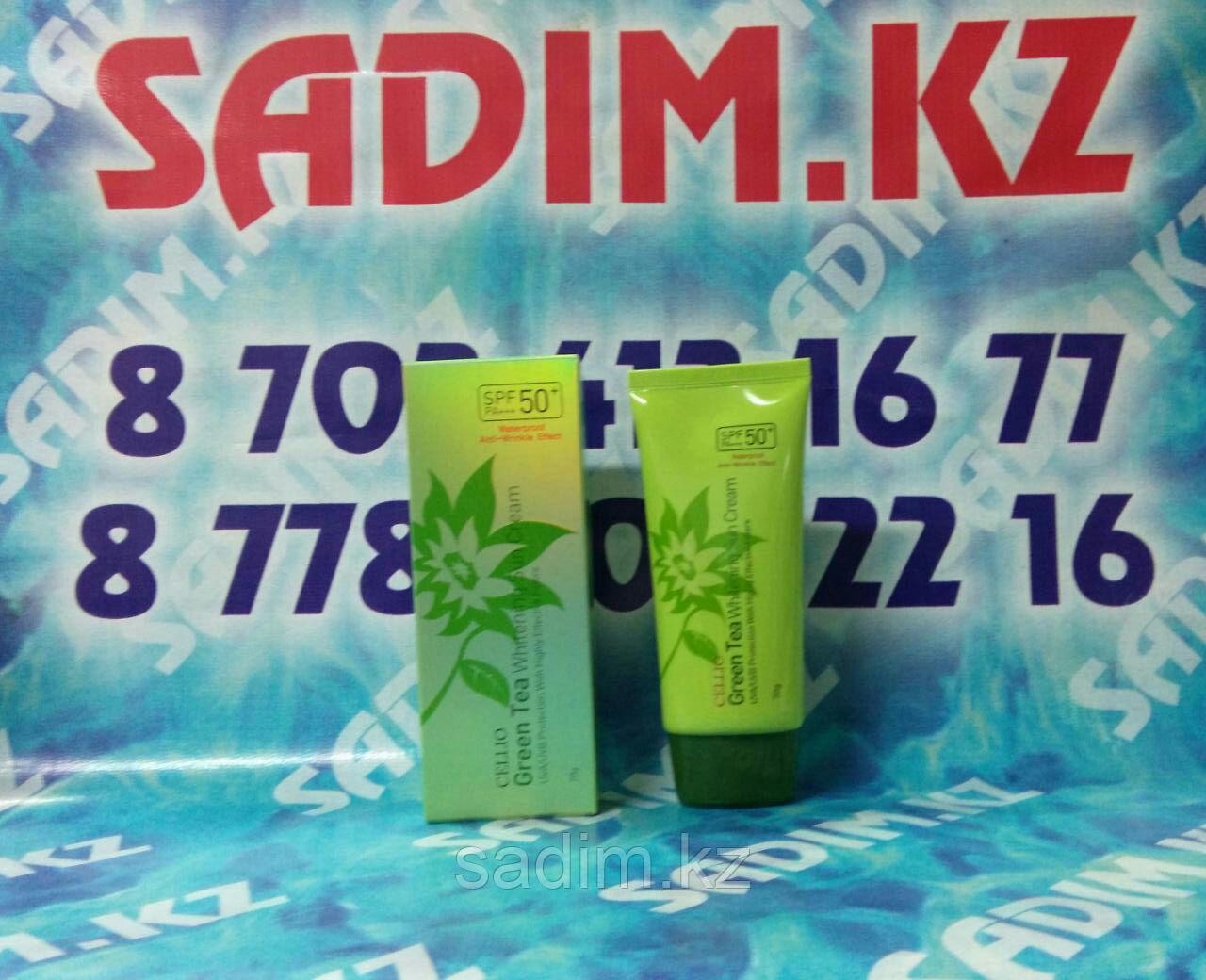 Cellio Green Tea Whitening Sun Cream SPF50+/PA+++ - Солнцезащитный крем на основе зеленого чая
