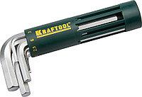 """Набор KRAFTOOL Ключи """"EXPERT"""" имбусовые короткие, Cr-Mo сталь, держатель-рукоятка, HEX 2-10мм, 8 пред"""