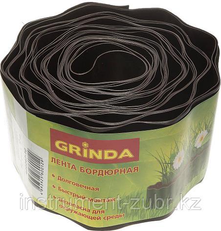 Лента бордюрная Grinda, цвет коричневый, 10см х 9 м, фото 2