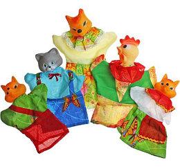 """Кукольный театр """"Кот, лиса и петух"""", 5 кукол"""