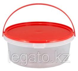 0,4 л ведро прозрачное с красной ручкой+крышка красная в комлекте 200шт в кор