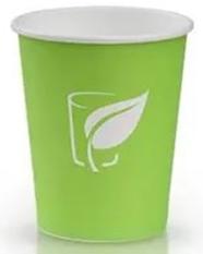 Стакан бум.д/гор.напитков 250мл.Зеленый 50шт/уп.1000шт/кор.Лига-Пак