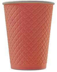 EM80-280 Стакан бумажный одноразовый двухслойный 250 мл. (, 5767, 0477 Waffle Red EM80-280, 25/туба,