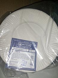 Тарелка d 170 мм, толщ 035мм бел,картон 100шт/уп 1000 шт/кор