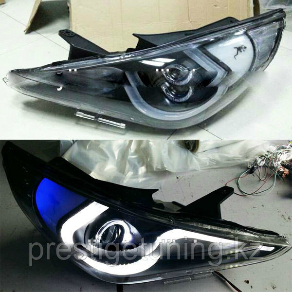 Передние фары Sonata 2009-2011 year JC Style Double Color Blue Type 5