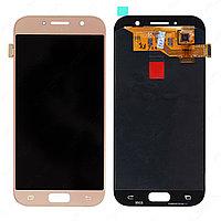 Дисплей Samsung Galaxy A5 Duos (2017) SM-A520F, с сенсором, цвет розовый