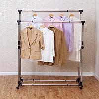 Двойная вешалка для одежды гардеробная раздвижная, YOULITE YLT-0302B