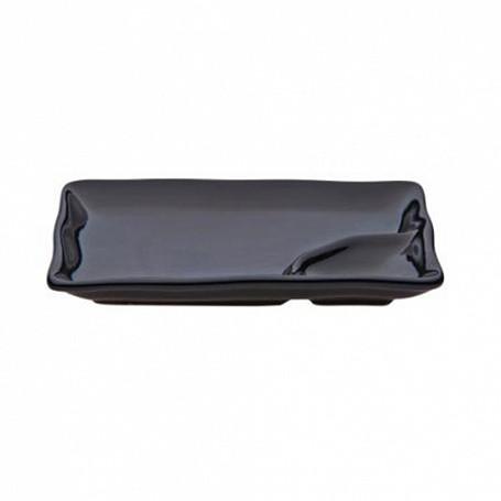 Блюдо с подсоусником 25х14х2,5 см, (в упак 6 шт) черная керамика арт.7030(BLK)