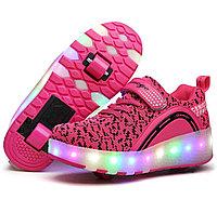 Роликовые кроссовки Aimoge LED Light Pink Black