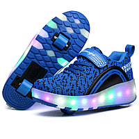 Роликовые кроссовки Aimoge LED Light Blue Black