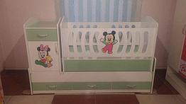 Детская Кровать манеж Трансформер с маятником в подарок матрац